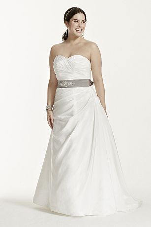 Taffeta Ruched A-Line Plus Size Wedding Dress