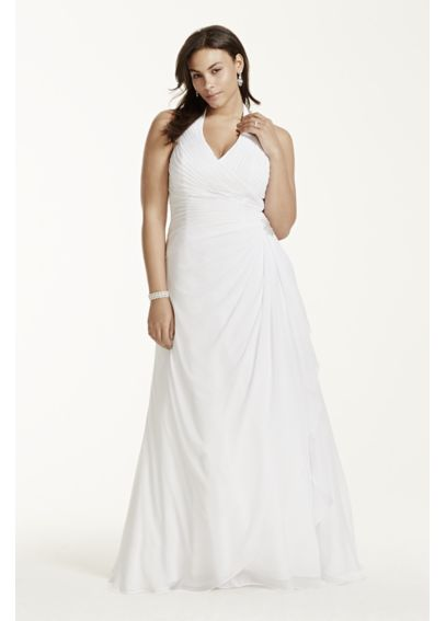 Chiffon Halter Soft Gown with Side Drape 9WG3260