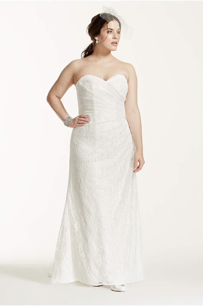 Strapless Lace Over Satin Plus Size Wedding Dress - Timeless and elegant, this lace over satin gown