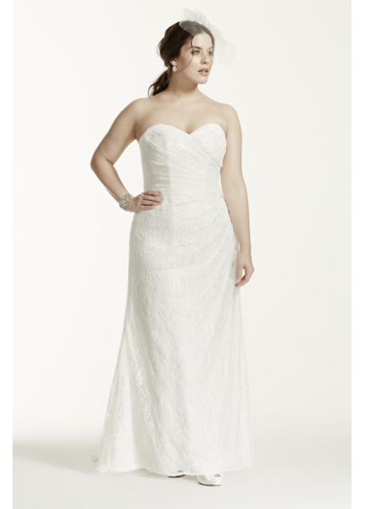 Strapless Lace Over Satin Plus Size Wedding Dress 9WG3263