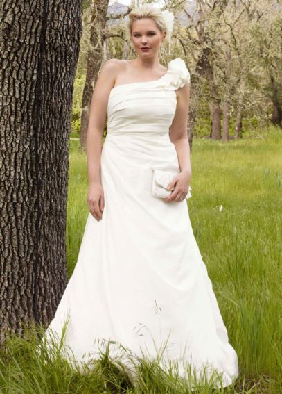 A-line Taffeta Gown with One Shoulder Detail 9WG3327