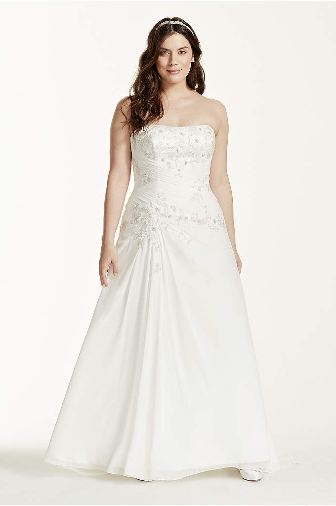 Chiffon Over Satin A-Line Plus Size Wedding Dress - This chiffon over satin wedding dress showcases its
