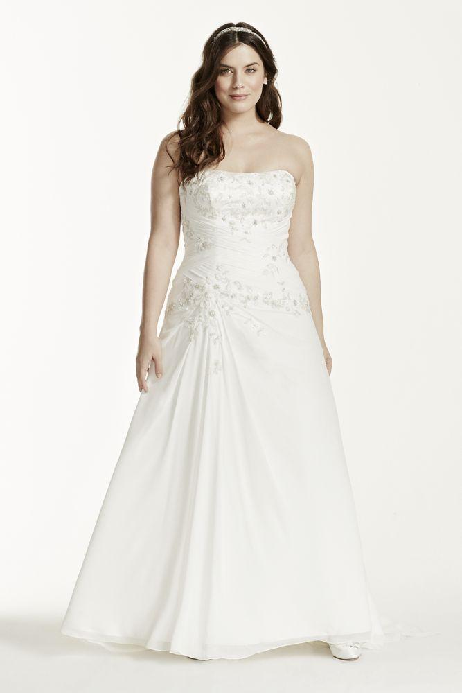 Chiffon Over Satin A-Line Plus Size Wedding Dress Style 9WG3483 | eBay