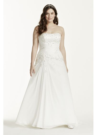 Chiffon Over Satin A-Line Plus Size Wedding Dress 9WG3483