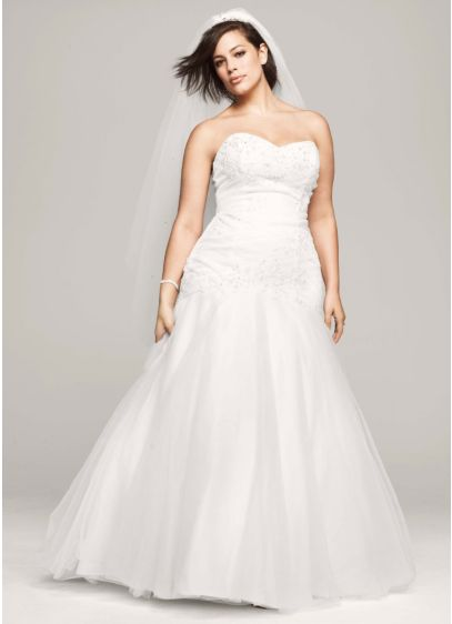 Trumpet plus size wedding dress with tulle skirt david 39 s for Trumpet skirt wedding dress