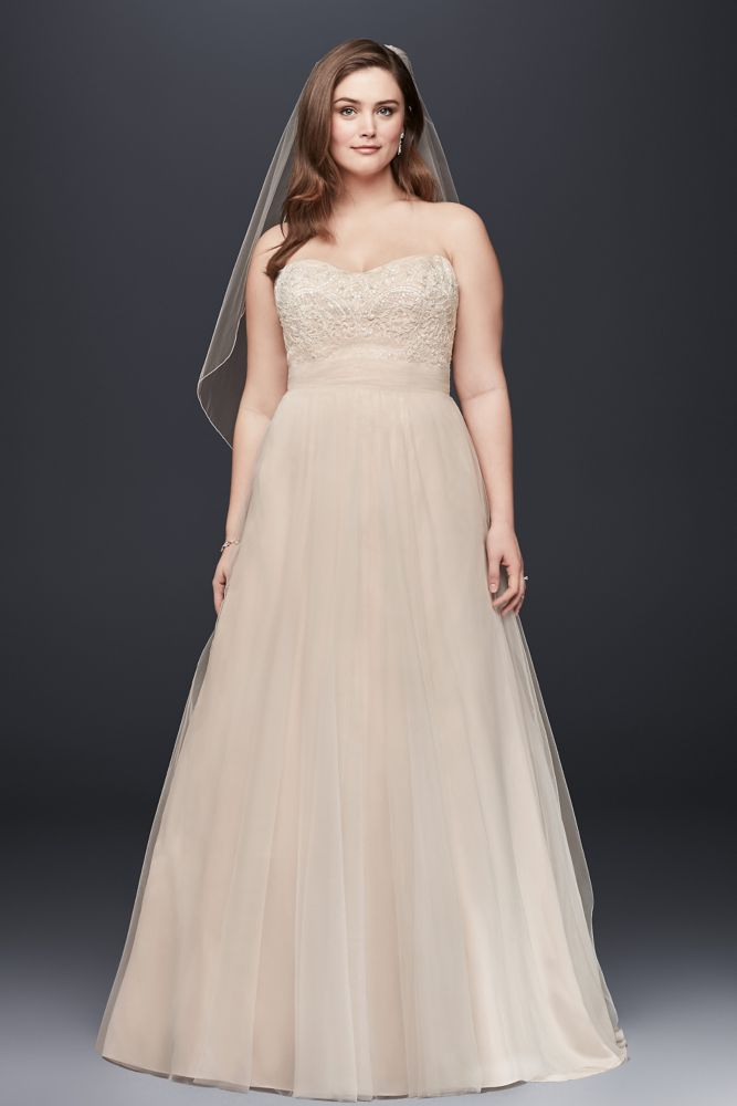 A line beaded lace tulle plus size wedding dress style for David s bridal tulle wedding dress