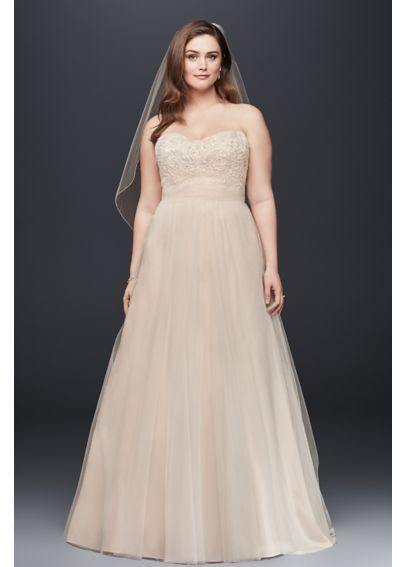 A-Line Beaded Lace Tulle Plus Size Wedding Dress 9WG3586