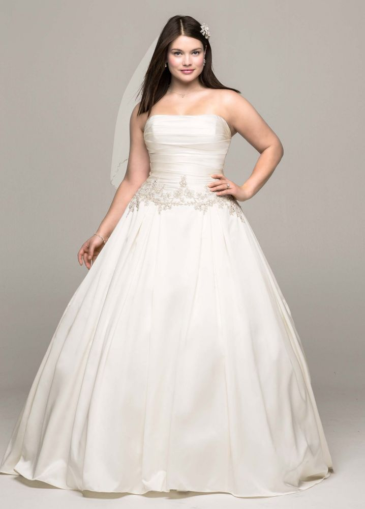 Mikado plus size wedding dress with beaded waist style for Plus size beaded wedding dresses