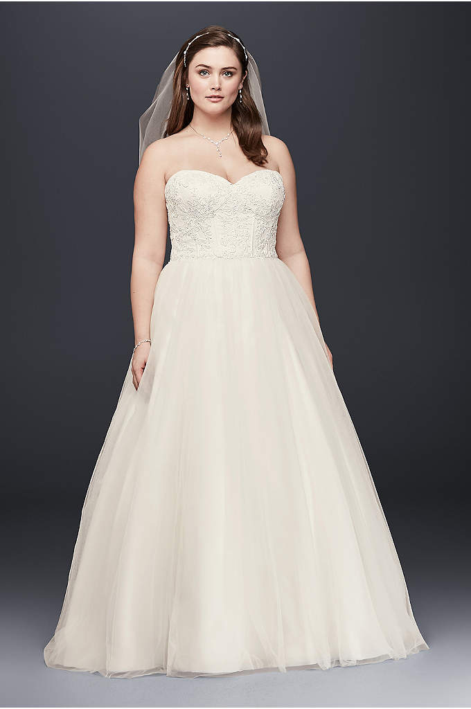 Soft Tulle Lace Corset Plus Size Wedding Dress - This strapless plus-size wedding dress is the perfect