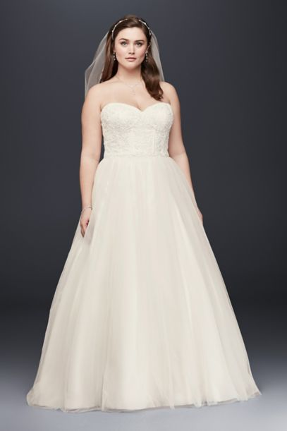 soft tulle lace corset plus size wedding dress | david's bridal