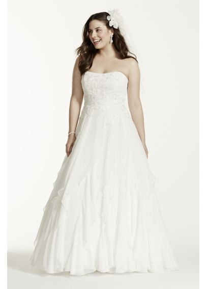 A-Line Chiffon Ruffled Plus Size Wedding Dress  9WG3647