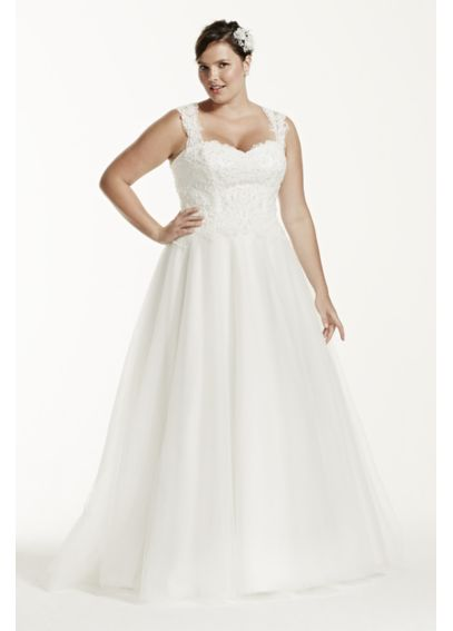 Tulle Plus Size Wedding Dress with Illusion Back 9WG3671