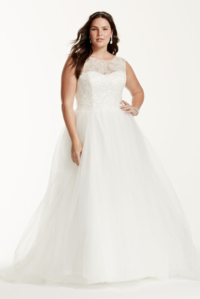 Cap sleeve illusion neck plus size wedding dress style for Plus size illusion wedding dress