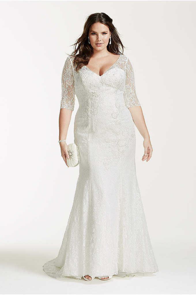 3/4 Sleeve Lace Trumpet Plus Size Wedding Dress - Demure yet stylish, this 3/4 sleeve all over