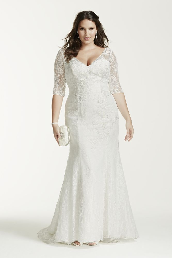 David 39 s bridal 3 4 sleeve all over lace trumpet wedding dress for David s bridal lace wedding dress