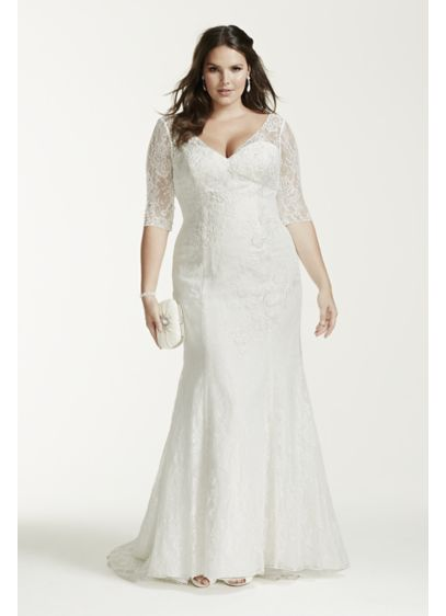 3 4 sleeve lace trumpet plus size wedding dress david 39 s for Long sleeve plus size wedding dress