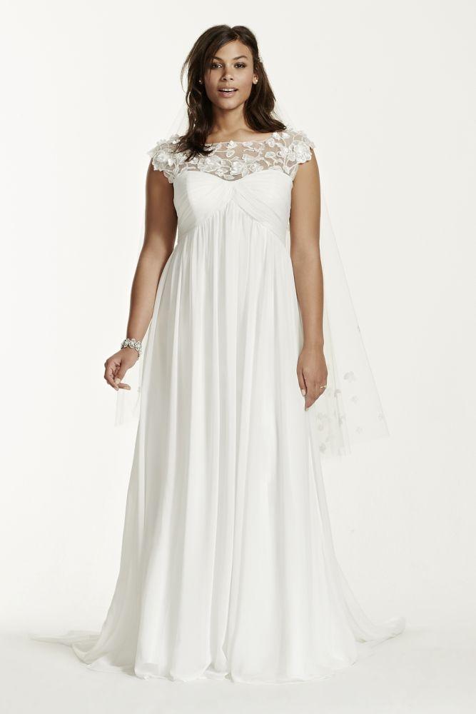 Galina cap sleeve chiffon a line plus size wedding dress for Plus size a line wedding dresses