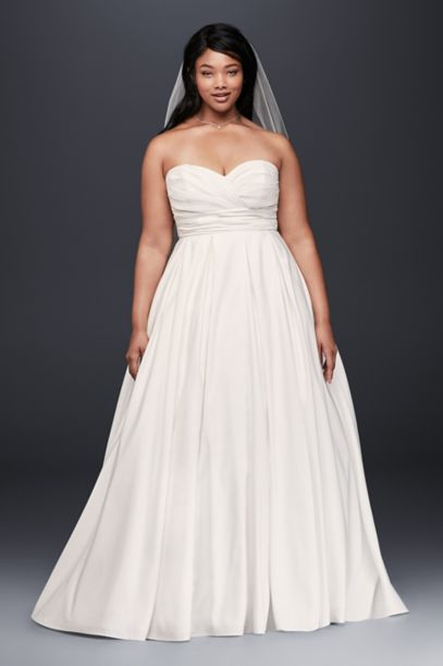faille empire waist plus size wedding dress | david's bridal