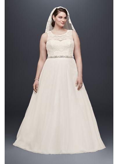 Illusion lace tank a line plus size wedding dress davids bridal long a line simple wedding dress davids bridal collection junglespirit Images
