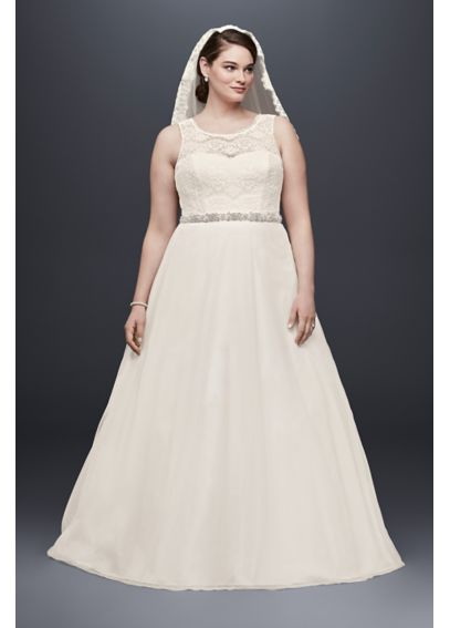 Illusion lace tank a line plus size wedding dress davids for Plus size illusion wedding dress