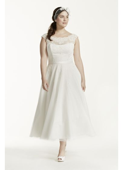 Tea Length Illusion Neck Plus Size Wedding Dress | David\'s Bridal