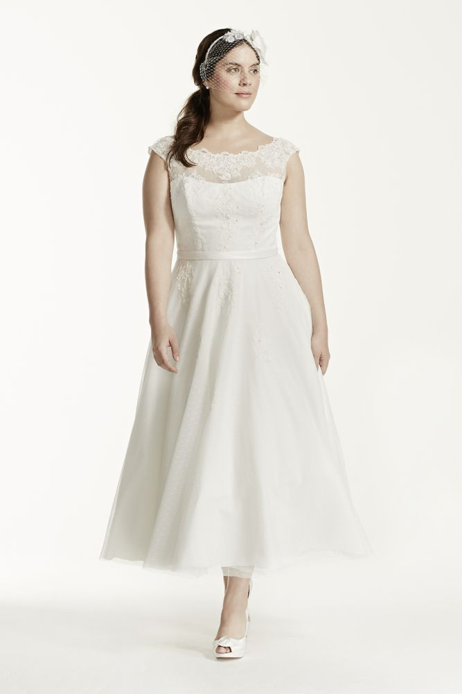 Tea length illusion neck plus size wedding dress style for David bridal rental wedding dresses
