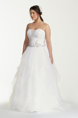Jewel Tiered Tulle Beaded Plus Size Wedding Dress Davids Bridal