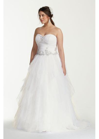 Jewel tiered tulle beaded plus size wedding dress davids for Plus size beaded wedding dresses