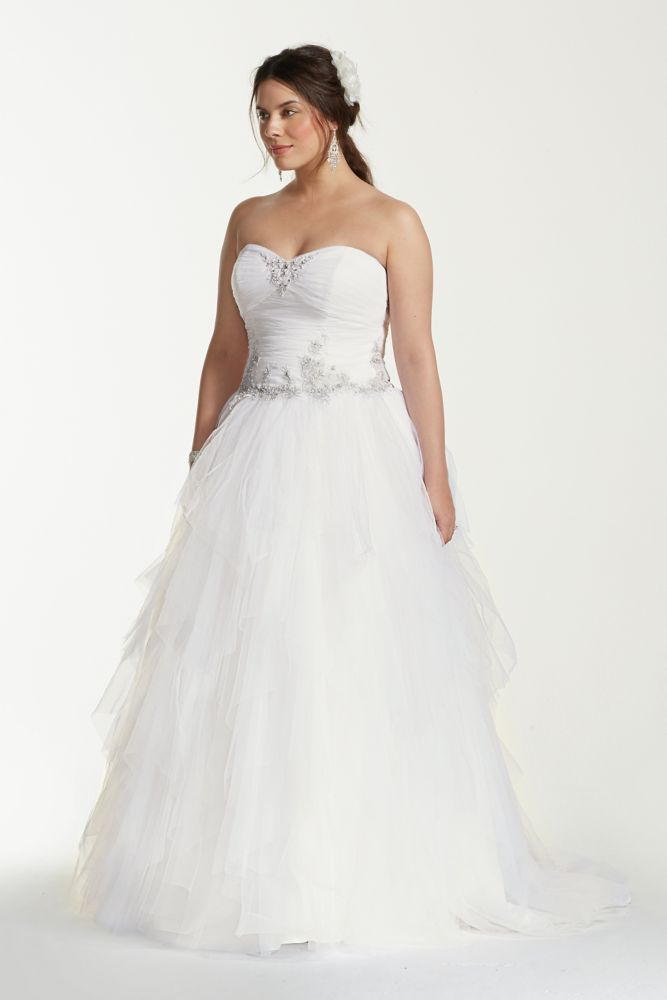 Jewel tiered tulle beaded plus size wedding dress style for Plus size beaded wedding dresses