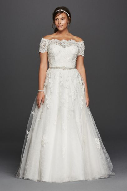 Jewel Scalloped Sleeve Plus Size Wedding Dress | David's Bridal