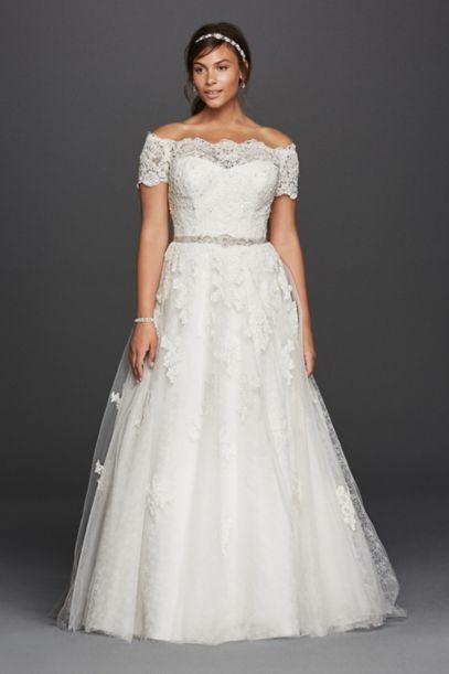 jewel scalloped sleeve plus size wedding dress | david's bridal