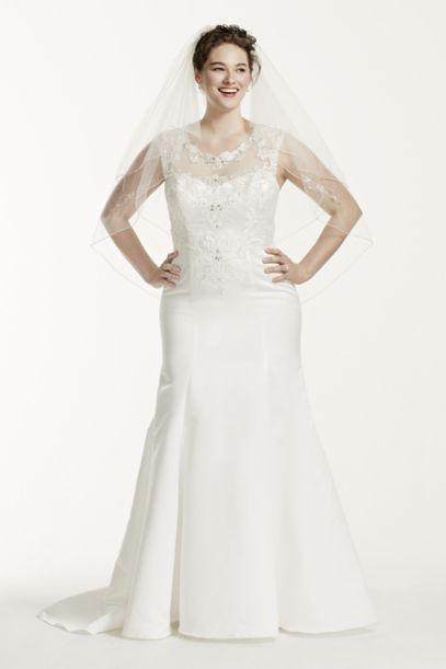 jewel cap sleeve satin plus size wedding dress | david's bridal