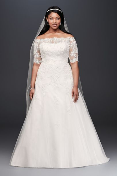Jewel 3/4 Sleeve Plus Size Wedding Dress | David's Bridal