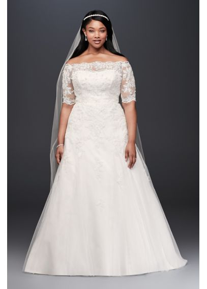 Plus Size Wedding Dresses 3 4 Sleeve : Jewel sleeve trumpet plus size wedding dress davids