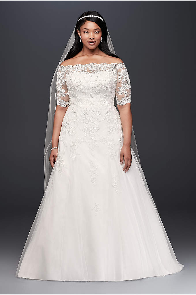 Jewel 3/4 SleevePlus Size Wedding Dress - This A-line plus-size wedding gown features feminine details