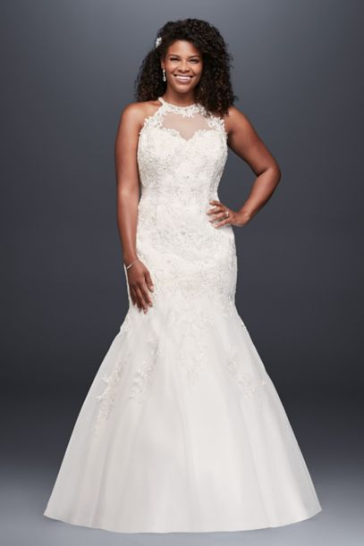 jewel illusion halter lace plus size wedding dress | david's bridal