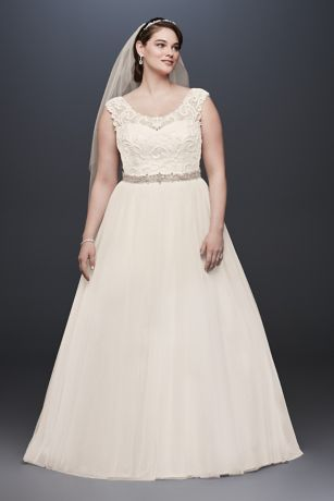 Tulle Plus Size Wedding Dress with Lace Cap Sleeve Davids Bridal