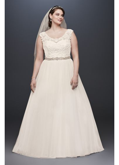 Tulle Plus Size Wedding Dress With Lace Cap Sleeve Davids Bridal - Plus Size Fall Wedding Dresses