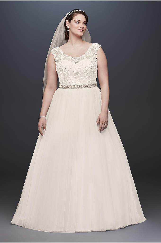 Tulle Plus Size Wedding Dress with Lace Cap - The scroll lace that adorns the bodice of