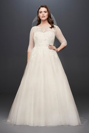 Tulle Plus Size Wedding Dress with Illusion Bodice Davids Bridal
