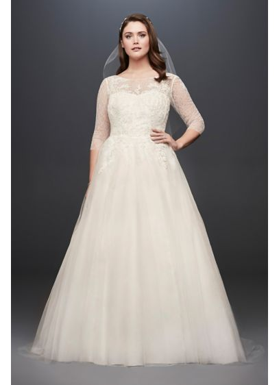 Tulle plus size wedding dress with illusion bodice david for Plus size illusion wedding dress