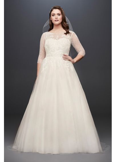 Tulle plus size wedding dress with illusion bodice for Plus size illusion wedding dress
