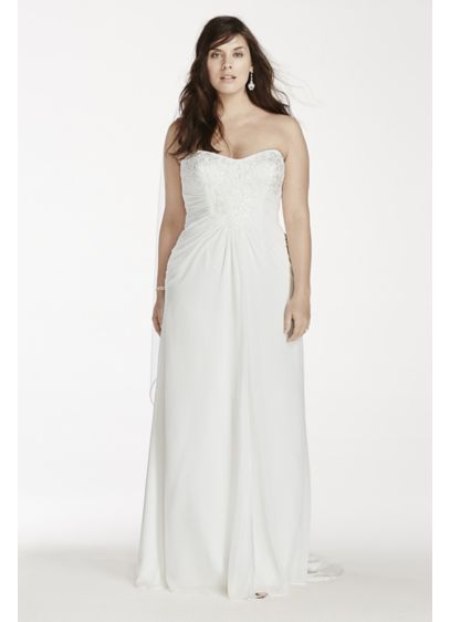 Crinkle chiffon strapless plus size wedding dress davids for Davids bridal beach wedding dresses