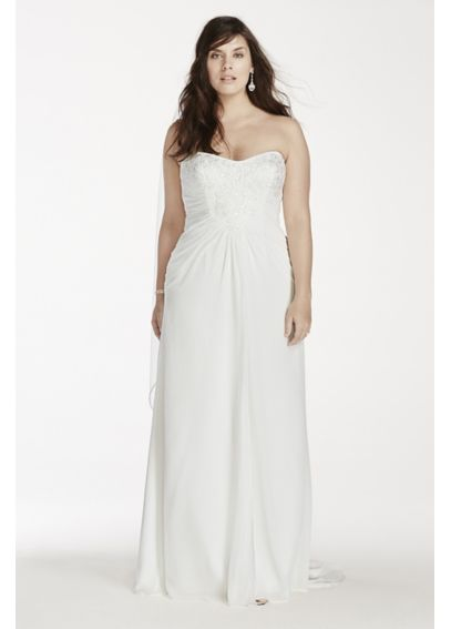 Crinkle Chiffon Strapless Plus Size Wedding Dress 9WG3746