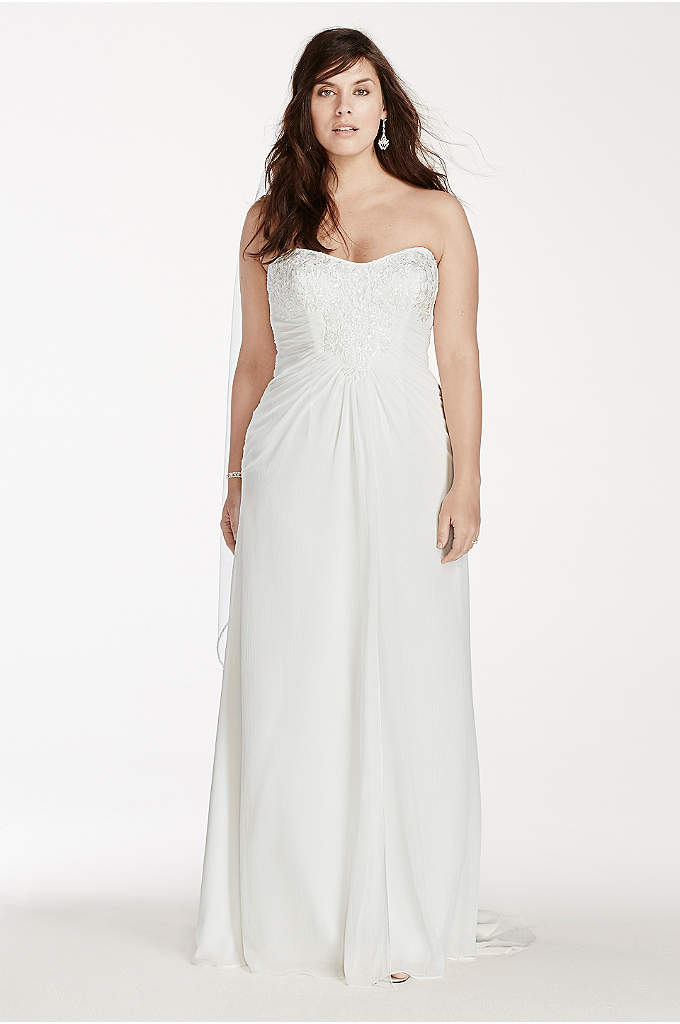 Crinkle Chiffon Strapless Plus Size Wedding Dress - Look effortlessly gorgeous in this crinkle chiffon sheath