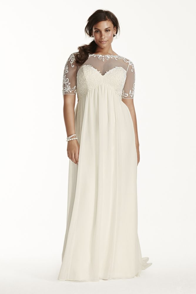 Illusion sleeve chiffon plus size wedding dress style for Plus size illusion wedding dress