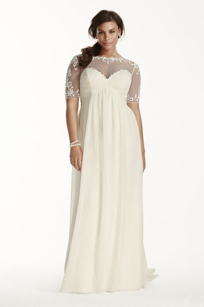 Illusion Sleeve Chiffon Plus Size Wedding Dress | David's Bridal