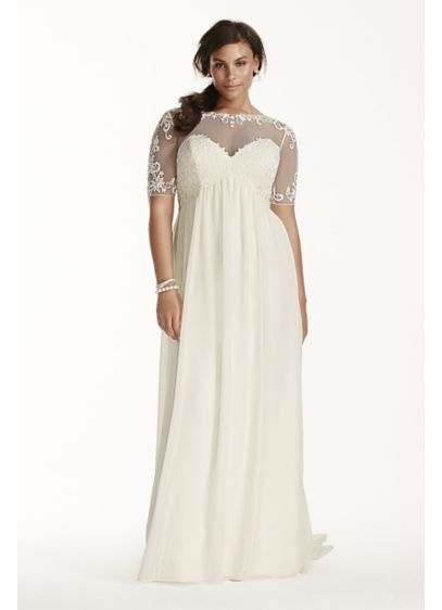 Illusion sleeve chiffon plus size wedding dress david 39 s for Plus size illusion wedding dress