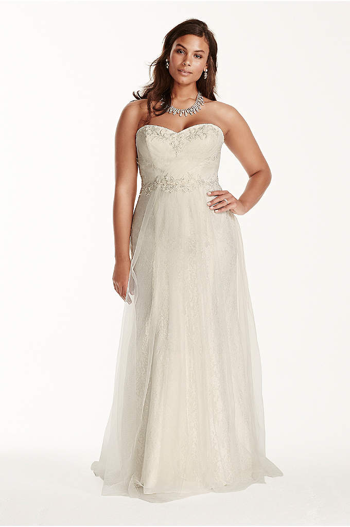 Strapless Tulle Over Lace Plus Size Wedding Dress