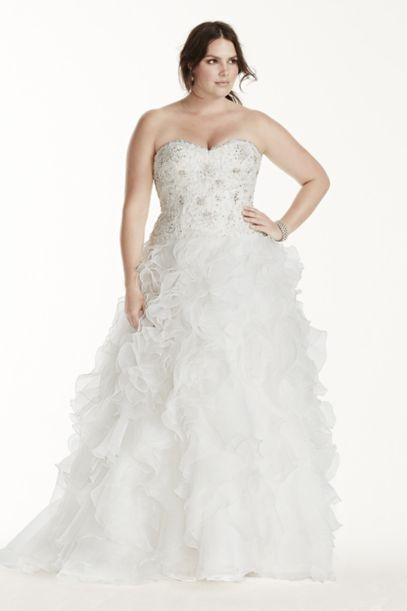 Jewel Organza Plus Size Wedding Dress with Ruffles | David's Bridal